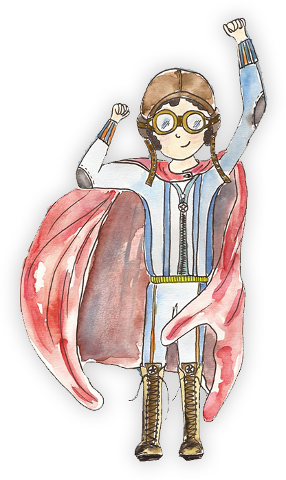 child superhero drawn in watercolour